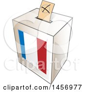 Clipart Of A Ballot In The Slot Of A French Flag Election Voting Box Royalty Free Vector Illustration