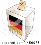 Clipart Of A Ballot In The Slot Of A German Flag Election Voting Box Royalty Free Vector Illustration