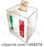 Clipart Of A Ballot In The Slot Of An Italian Flag Election Voting Box Royalty Free Vector Illustration
