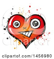 Clipart Of A Cartoon Happy Heart Character With Splatters Royalty Free Vector Illustration