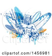 Poster, Art Print Of Poseidon Holding A Trident Over Surfboards With A Skull Splatters And Palm Tree