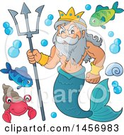 Poster, Art Print Of Merman Poseidon Holding A Trident And Sea Creatures