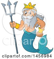Clipart Of A Merman Poseidon Holding A Trident Royalty Free Vector Illustration
