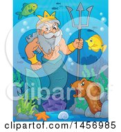 Poster, Art Print Of Merman Poseidon Holding A Trident Near Sea Creatures