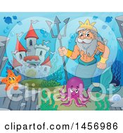 Poster, Art Print Of Merman Poseidon Holding A Trident Near A Castle