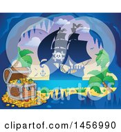 Clipart Of A Silhouetted Pirate Ship Near A Pirate Cave On An Island Royalty Free Vector Illustration by visekart