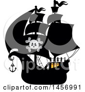Clipart Of A Silhouetted Pirate Ship With Lights On In The Cabin Royalty Free Vector Illustration