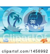 Clipart Of A Silhouetted Pirate Ship Near An Island And Beach Royalty Free Vector Illustration by visekart