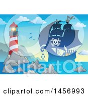 Clipart Of A Silhouetted Pirate Ship Near A Lighthouse At Sunrise Or Sunset Royalty Free Vector Illustration by visekart