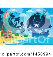 Clipart Of A Silhouetted Pirate Ship Near A Beach With A Parrot And Treasure Chest Royalty Free Vector Illustration by visekart
