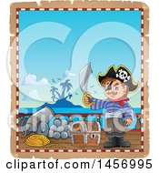 Clipart Of A Parchment Page With A Pirate Holding A Sword On A Ship Deck Royalty Free Vector Illustration