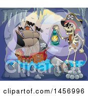 Clipart Of A Pirate Captain Skeleton Holding A Lantern In A Cave A Ship In The Background Royalty Free Vector Illustration