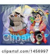 Clipart Of A Pirate Captain With A Parrot In A Cave A Ship In The Background Royalty Free Vector Illustration