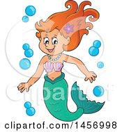 Clipart Of A Cartoon Red Haired Mermaid With Bubbles Royalty Free Vector Illustration by visekart