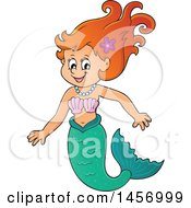 Clipart Of A Cartoon Red Haired Mermaid Royalty Free Vector Illustration by visekart