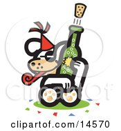 Dog Popping A Cork Off Of A Bottle Of Champagne At A New Years Party Clipart Illustration
