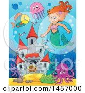 Clipart Of A Cartoon Red Haired Mermaid Near A Castle Royalty Free Vector Illustration by visekart
