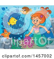 Clipart Of A Cartoon Red Haired Mermaid And Sea Creatures Near A Sunken Ship Royalty Free Vector Illustration by visekart
