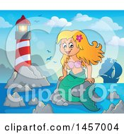 Clipart Of A Cartoon Blond Mermaid Sitting On A Rock Near A Lighthouse With A Ship In The Distance Royalty Free Vector Illustration by visekart