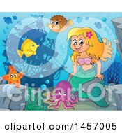 Clipart Of A Cartoon Blond Mermaid And Sea Creatures Near A Sunken Ship Royalty Free Vector Illustration by visekart