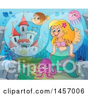Clipart Of A Cartoon Blond Mermaid Near A Castle Royalty Free Vector Illustration by visekart