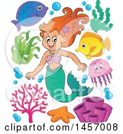 Clipart Of A Cartoon Red Haired Mermaid With Sea Creatures Royalty Free Vector Illustration by visekart