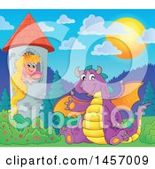 Cartoon Purple Dragon Waving And Sitting By Rapunzel In A Tower
