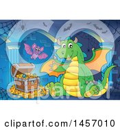 Cartoon Green Dragon Waving And Sitting By Treasure In A Cave