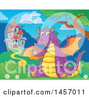 Cartoon Purple Dragon Waving And Sitting Near A Castle