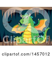 Cartoon Green Dragon Waving And Sitting In A Cave