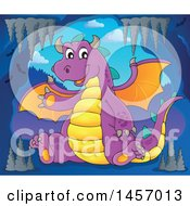 Cartoon Purple Dragon Waving And Sitting In A Cave