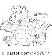 Cartoon Black And White Dragon Waving And Sitting
