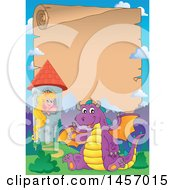 Parchment Scroll Border Of A Purple Dragon Waving And Sitting By Rapunzel In A Tower