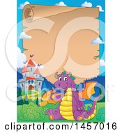 Parchment Scroll Border Of A Purple Dragon Waving And Sitting By A Castle