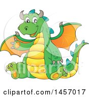 Clipart Of A Cartoon Green Dragon Waving And Sitting Royalty Free Vector Illustration by visekart