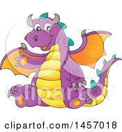 Cartoon Purple Dragon Waving And Sitting