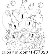 Clipart Of A Black And White Castle Under The Sea Or In A Fish Tank With Bubbles Royalty Free Vector Illustration