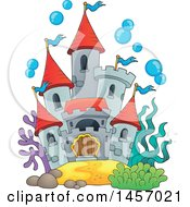 Clipart Of A Castle Under The Sea Or In A Fish Tank With Bubbles Royalty Free Vector Illustration by visekart