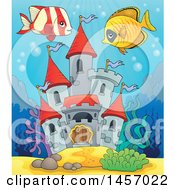 Clipart Of A Castle Under The Sea With Fish Royalty Free Vector Illustration by visekart