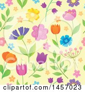 Poster, Art Print Of Seamless Background Pattern Of Flowers On Pastel Yellow