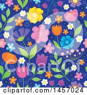 Clipart Of A Seamless Background Pattern Of Flowers On Blue Royalty Free Vector Illustration