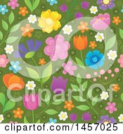 Clipart Of A Seamless Background Pattern Of Flowers On Green Royalty Free Vector Illustration