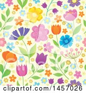 Clipart Of A Seamless Background Pattern Of Flowers On Pastel Yellow Royalty Free Vector Illustration