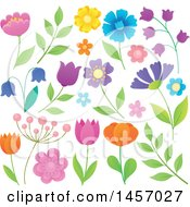 Clipart Of Colorful Spring And Summer Flowers Royalty Free Vector Illustration by visekart