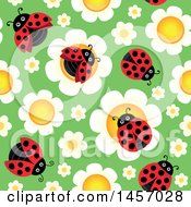 Clipart Of A Seamless Background Of Laydbugs On Flowers Over Green Royalty Free Vector Illustration