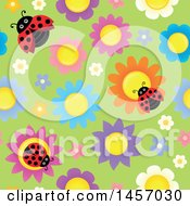 Clipart Of A Seamless Background Of Laydbugs On Colorful Flowers Over Green Royalty Free Vector Illustration by visekart