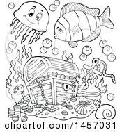 Clipart Of A Black And White Sunken Treasure Chest And Fish Royalty Free Vector Illustration