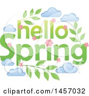 Clipart Of A Hello Spring Design With Pink Flowers Leaves And Clouds Royalty Free Vector Illustration