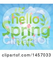 Clipart Of A Hello Spring Design With Pink Flowers Leaves And Clouds Over Sun Rays Royalty Free Vector Illustration