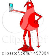 Clipart Of A Cartoon Red Devil Taking A Selfie With A Cell Phone Royalty Free Vector Illustration by djart